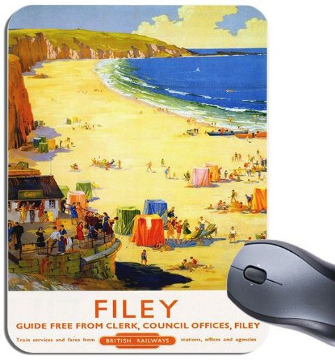 Filey By Train Vintage Railway Poster Mouse Mat. North Yorkshire Mouse Pad